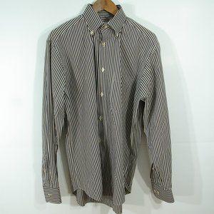 Brioni Long Sleeve Shirt Button Down Casual Stripped White Blue Brown